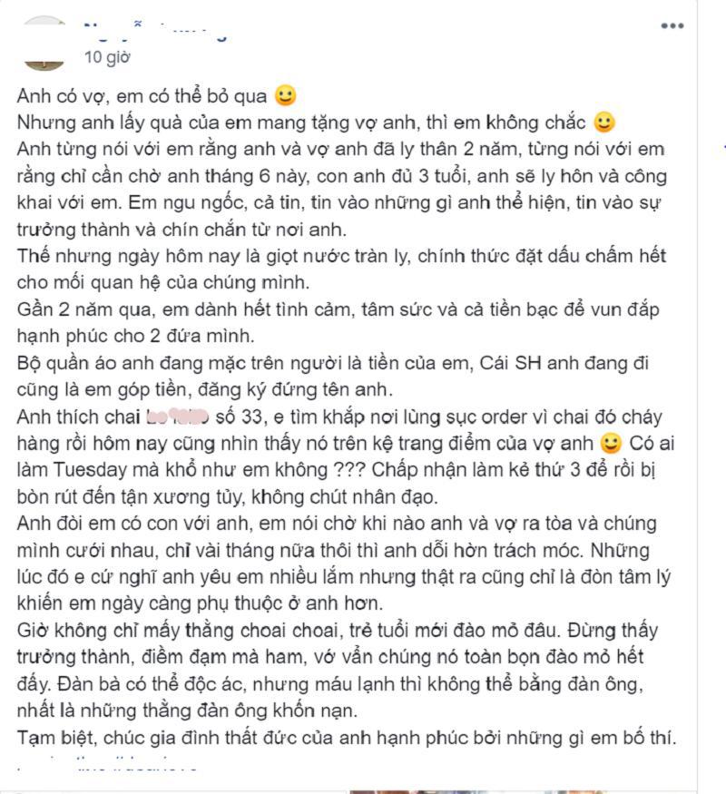 Câu chuyện 'tiểu tam' ghen ngược được chính cô nàng đăng tải lên Facebook