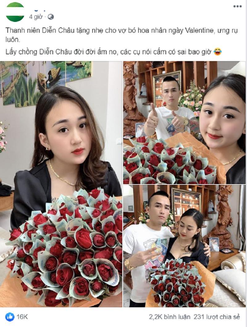 Bó hoa 'đồng tiền' siêu to khổng lồ của Ngọc Huyền được chồng tặngtrong ngày Valentinekhiến hội chị em ghen tỵ