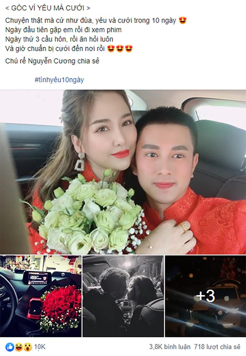 Bài đăng về cặp đôi trẻ cưới sau 10 ngày yêu gây xôn xao mạng xã hội