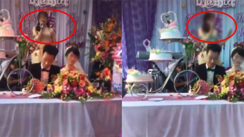 Cô người yêu cũ phát biểu khiến chú rể, cô dâu trong đám cưới 'câm nín'. Ảnh cắt từ clip.